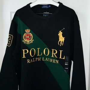 RARE POLO RALPH LAUREN ROYAL CREST SWEATSHIRT L